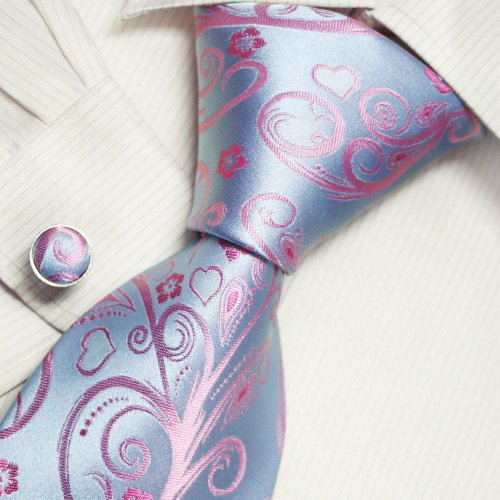 Lover Pink Flower Designer Ties Deepskyblue Personalized Gift Mens Style Necktie Set A2054