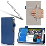 I-BLASON Samsung Galaxy Tab Pro 8.4 Case - Leather Book (Elastic Hand Strap, Multi-Angle, Card Holder) for SM-T320/325 With Bonus Stylus 3 Year Warranty (Blue, Galaxy Tab Pro 8.4)