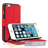 Yousave Accessories iPhone 6 Plus Case Red PU Leather Wallet Stand Cover