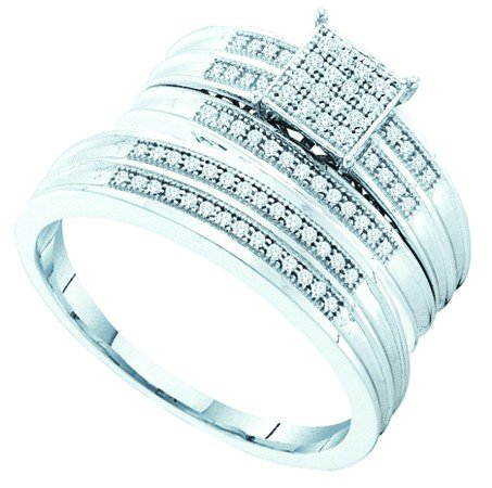 Men's Ladies .925 Sterling Silver .25ct Round White Diamond Wedding Engagement Trio Bridal Ring Set (Ladies size 7, Men's size 10; see Product Description)