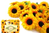 "(100) Silk Yellow Sunflowers sun Flower Heads , Gerber Daisies - 1.5"" - Artificial Flowers Heads Fabric Floral Supplies Wholesale Lot for Wedding Flowers Accessories Make Bridal Hair Clips Headbands Dress"
