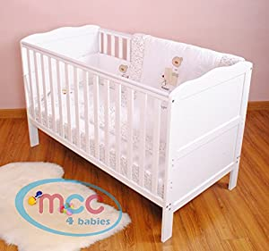 Wooden Baby Cotbed Cot Bed Toddler& Premier Water repellent Mattress &Spiral toy from mcc