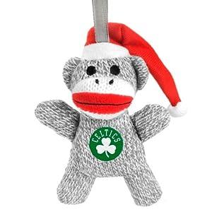 Boston Celtics NBA Plush Sock Monkey Ornament by Hall of Fame Memorabilia