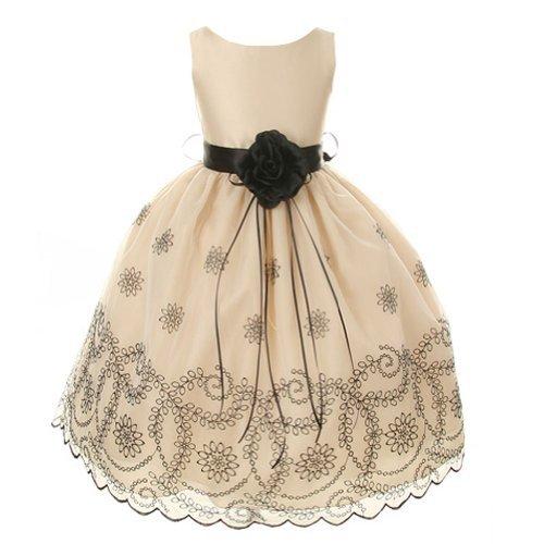 Kids Dream Little Girls 4 Champagne Embroidered Flower Girl Dress front-447588