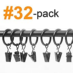 32-pack (1') 1 Inch Black Matte Metal Curtain Rings with Clips (32 Drapery Rings with Clips) ...