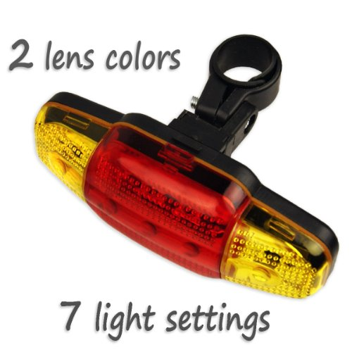 Ultra-Visible Two-Color LED Bike Tail Light Flasher - Visible 2500 Feet