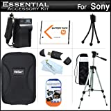 Essential Accessories Kit For Sony Cyber-shot DSC-W800, W800/B, W800/S, DSC-W830, DSCW830/B, DSCW830, DSC-WX220, DSCWX220/B Includes Extended Replacement (1300 maH) NP-BN1 Battery + AC/DC Travel Charger + Case + 50 Tripod w/Case + Screen Protectors + More ~ ButterflyPhoto