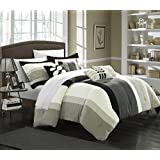 Chic Home 7-Piece Highland Plush Micro Suede Striped Comforter Set, Queen, Black/Grey/Sage