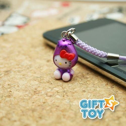 Sanrio Hello Kitty Eggplant Cell Phone Charm
