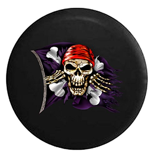 Pirate Skull & Crossbones Flag Tattered Ripped and TornSpare Tire Cover Black 32 in (Pirates Jeep Tire Cover compare prices)