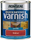 Ronseal QDVSW250 250ml Quick Dry Varnish Coloured Satin - Walnut