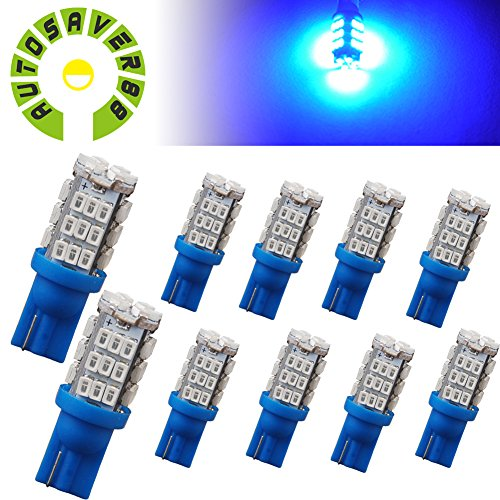 AUTOSAVER88 10 X Car T10 Wedge 42-SMD High Mount Stop Blue LED Lights 921 194 168 (194 Led Bulb Blue compare prices)
