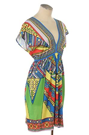 ETHNIC PRINT KIMONO KNIT DRESS