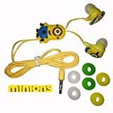 Despicable Me In-ear Headphones Earbuds for Mobile Phone Mp3 Minions Dave Carl 3.5mm Earphones Quality Sound Includes 3 Additional Earplug Covers - Great for Kids, Boys, Girls, Adults, Gifts