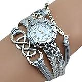 Sanwooddeals レディース 腕時計 LOVE ブレスレットタイプ ウォッチ (シルバー)