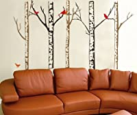 WallStickersUSA Contemporary Wall Sticker Decal, Tree Trunks and Colorful Birds, X-Large by WallStickersUSA