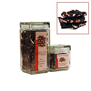 Gourmet Dark Chocolate Bark With Spicy Jalaprika Cashews Deluxe Gift Jar 32 Oz by Carolyn's Handmade