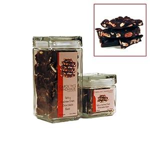 Gourmet Spicy Jalaprika Cashews Dark Chocolate Bark Executive Glass Gift Jar 16 Oz from Carolyn's Handmade