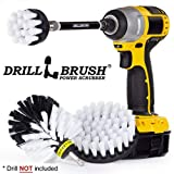 Car Washing and Detailing Power Brush Kit with Long-reach Removable Extension. Auto Care set includes Three Different Size, Replaceable, Soft White Scrubber Brushes With Quick Change Extender. (Color: Automotive Soft-White, Tamaño: 4in, 2in, 3.5in corner brush, 5in extnesion)