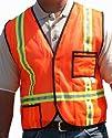 "Gold Belt Orange 1.5"" Horizontal & Vertical Reflective Tape Water Utilities Safety Vest…"