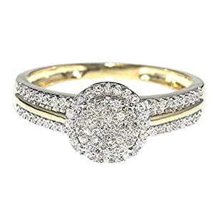 0.25ct Diamond Engagement Ring Bridal Ring 10K Yellow Gold Halo Style 8mm New