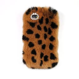 iPhone 6 Plus/6s Plus 5.5 Inch Rabbit Fur Hair Case-Aurora® Leopard iPhone 6 Plus Handmade Soft Warm Rabbit Hair Case with Butterfly Crystal Rhinestone for iPhone 6s Plus