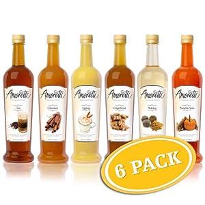 Amoretti Premium Holiday Syrup 6 Pack Chai Cinnamon Eggnog Gingerbread Nutmeg Pumpkin Spice - 750ml Bottles by Amoretti