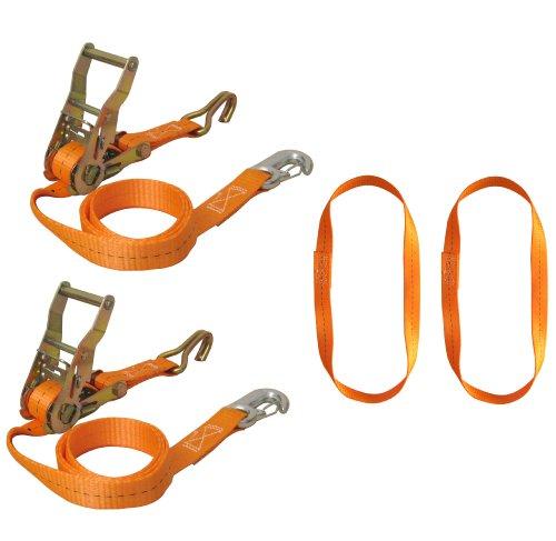 Braun-750-6-FRONT-Motorrad-Vorderradverzurrung-Zurrgurtset-6-teilig-mit-Spitzhaken-und-Karabinerhaken-inklusive-Endlosschlingen-Gurtfarbe-orange