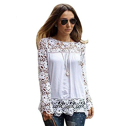 Dream Garden Women Spring Long Sheer Sleeve Embroidery Tops Blouse Lace Crochet Chiffon Shirt (UK12, white)