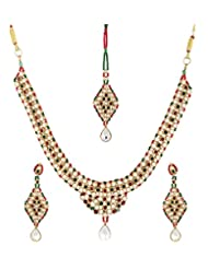 Lucky Jewellery Antique Maroon Green Alloy Chain Patwa Set For Women (594-ISP-948-MG)