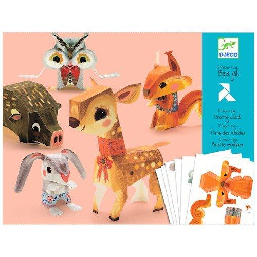 Djeco / Folded Paper Toy Kit, Pretty Woodland Animals - 1