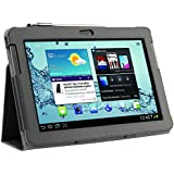 Topgadgetsuk Samsung Galaxy Tab 2 7.0 Leather Case Cover and Flip Stand Screen Protector (P3100 P3110) (Black)