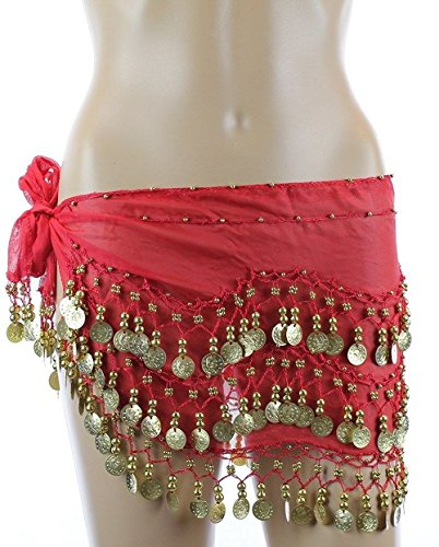 Plus Size Belly Dancing Hip Scarf - Red/Gold