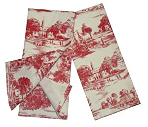 Amazon Com Toile French Country Dish Towel Set Of 2 Red