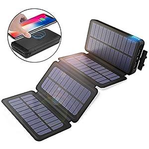 モバイルバッテリー ソーラーチャージャー 20000mAh Qi ワイヤレス充電器 大容量 急速充電