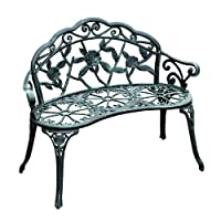 Outsunny Cast Iron Antique Rose Style Outdoor Patio Garden Park Bench, 40""