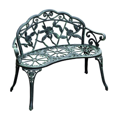 Outsunny cast iron antique rose style outdoor patio garden park bench 40 outdoor benches Wrought iron outdoor bench