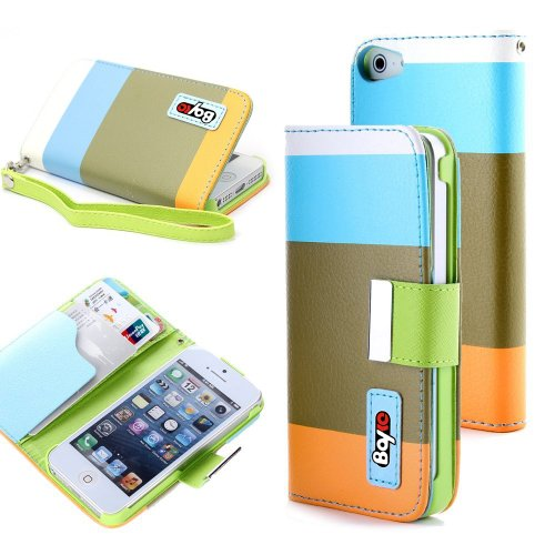 Bayke Brand / Apple Iphone 5C Fashion Designer Colorful Pu Leather Wallet Case With Strap With Stand With Magnetic Clip Credit Card Slots & Holder (Blue+Olive+Orange)