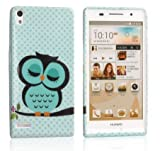 Poposh 2IN1 Phone Mobile Accessory For Huawei Ascend P6 Soft TPU Silicone Back Case Cover Protection Skin Shell Night Owl Polka Dot + 1x Stylus Touch Pen (Flexible color)- Green White Cute Cartoon on the Branch Tree