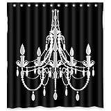 "66""(w) x 72""(L) Custom classical Chandeliers black Bathroom Waterproof Polyester Fabric Shower Curtain"