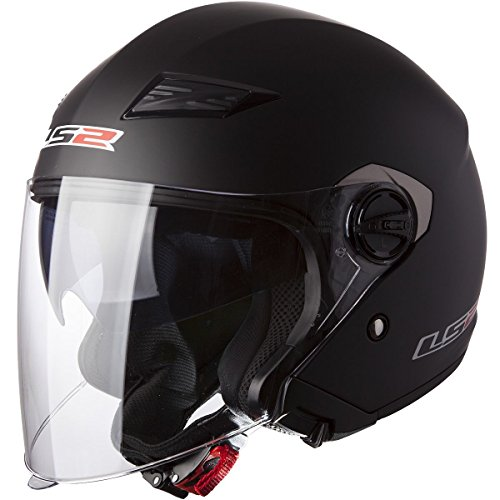 LS2 Helmets 569 Track Solid Open Face Motorcycle Helmet with Sunshield (Matte Black, X-Large)