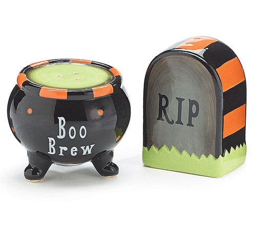 Halloween Tombstone & Witch Cauldron Salt & Pepper Set