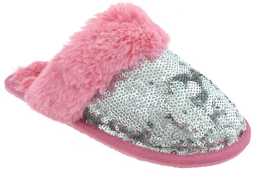 Cheap Capelli New York Two Toned Sequins Scuff Girls Indoor Slippers Silver Combo Large (B00937NHW4)