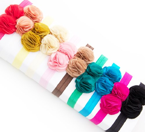 Ema Jane  Double Satin Silk Rosettes Glued Securely to Soft Iridescent Stretchy Headbands (12 Pack) Picture