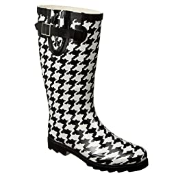 Product Image Women's Merona® Zakia Houndstooth Rain Boots - Black (9)
