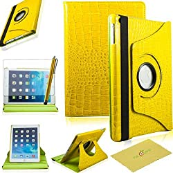 Ipad Air Case, Ipad 5 Case, Fulland Colorful 360 Rotating Flip Leather Case Cover for Apple Ipad Air 5 with Smart Auto Wake/Sleep Function plus Stylus Touch Screen Pen and Screen Protector-crocodile Orange