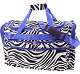 Zebra Duffel Bag Purple Trim 19″