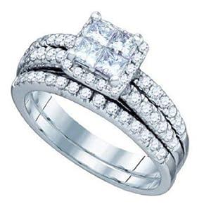 Pricegems 14K White Gold Ladies Princess Diamond Invisible Set Bridal Ring Size: 7.25)