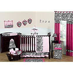 Pink, Black and White Funky Zebra Animal Print Baby Girl Bedding 11pc Crib Set without bumper