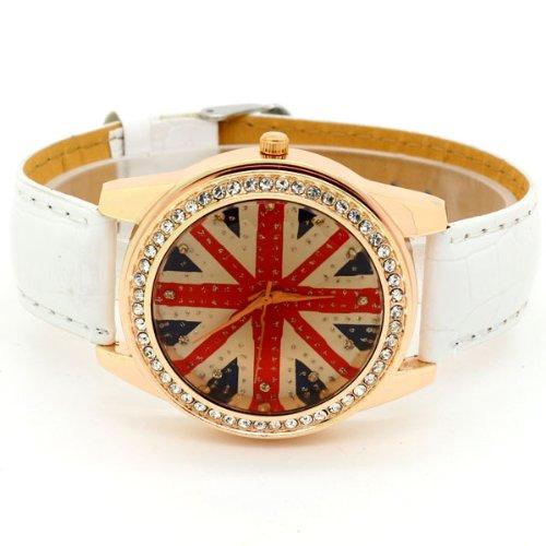 Conbays White Uk Flag Round Dial Crystal Girl Leather Quartz Wrist Watch Women Gift Luxury